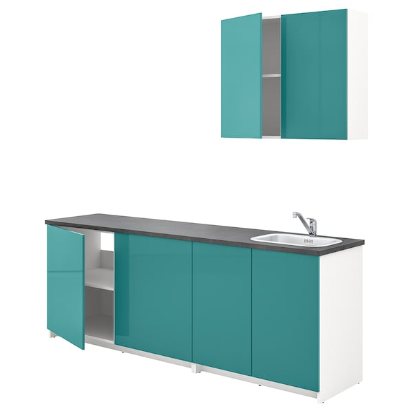 KNOXHULT Kitchen, high-gloss blue-turquoise, 204x61x220 cm