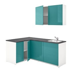 KNOXHULT kitchen, high-gloss blue-turquoise