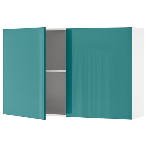 KNOXHULT Wall cabinet with doors, high-gloss/blue-turquoise, 120x75 cm