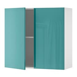 KNOXHULT wall cabinet with doors, high-gloss, blue-turquoise
