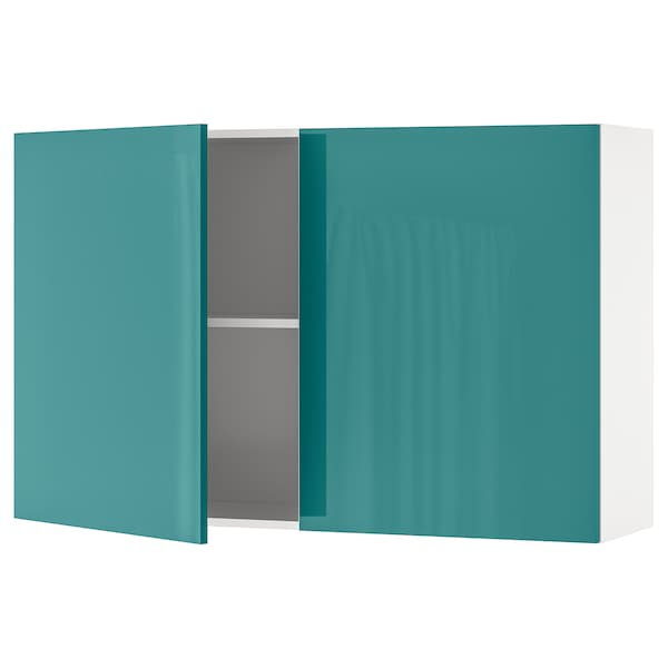 KNOXHULT wall cabinet with doors high-gloss/blue-turquoise 120.0 cm 31.0 cm 75.0 cm