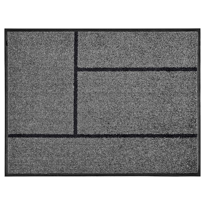 KÖGE Door mat, grey/black, 69x90 cm