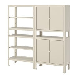 KOLBJÖRN shelving unit with 2 cabinets, beige
