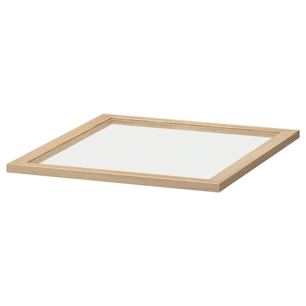 KOMPLEMENT Glass shelf, white stained oak effect, 50x58 cm