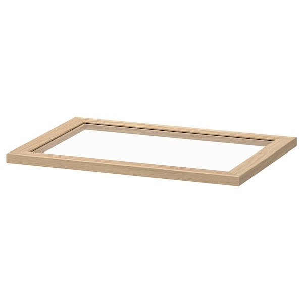 KOMPLEMENT Glass shelf, white stained oak effect, 50x35 cm