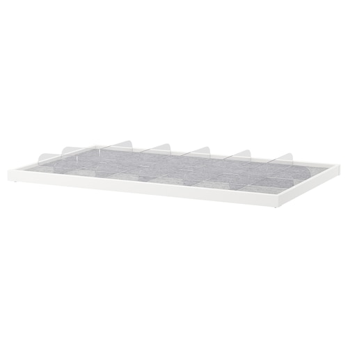 KOMPLEMENT pull-out tray with divider white/transparent 96.5 cm 100 cm 56.3 cm 6.3 cm 58 cm 10 kg