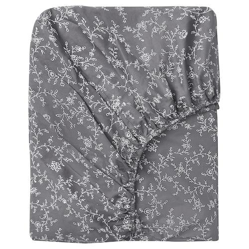 KOPPARRANKA Fitted sheet, floral patterned, 180x200 cm