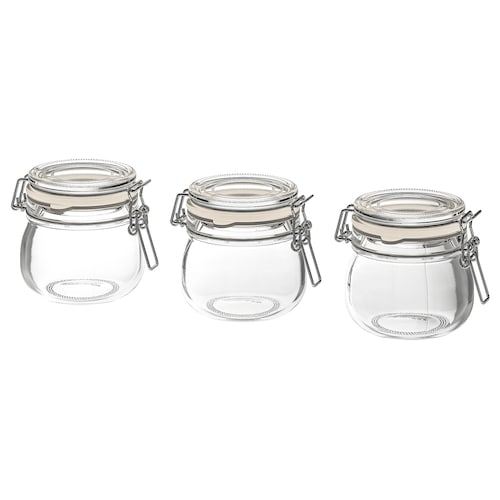 KORKEN jar with lid clear glass 7 cm 7 cm 13 cl 3 pack