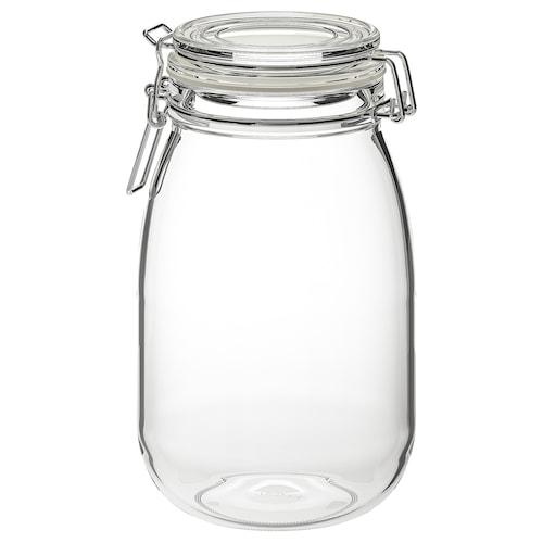 KORKEN jar with lid clear glass 21.5 cm 12.5 cm 1.8 l