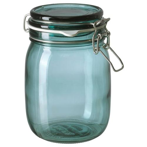 KORKEN jar with lid green 16.5 cm 12 cm 1 l
