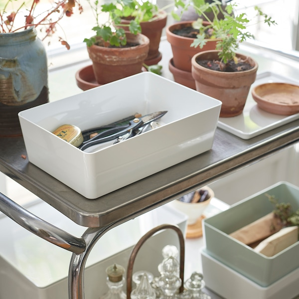 KUGGIS Box with lid, white, 18x26x8 cm