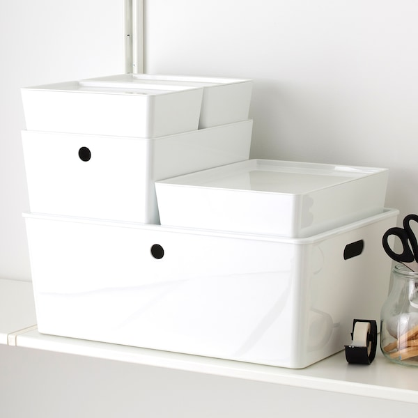 KUGGIS Box with lid, white, 26x35x8 cm