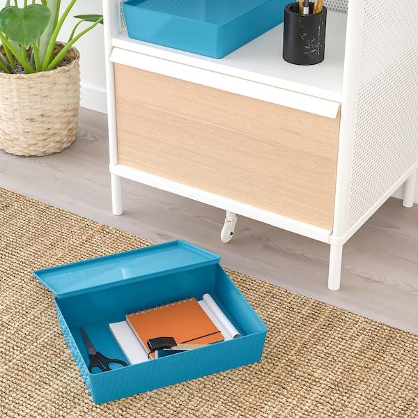 KUGGIS Storage box with lid, blue/plastic, 26x35x8 cm