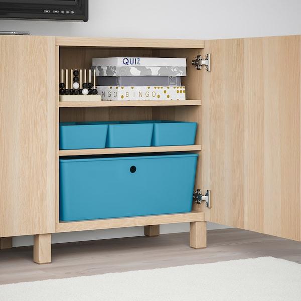 KUGGIS Storage box with lid, blue/plastic, 37x54x21 cm