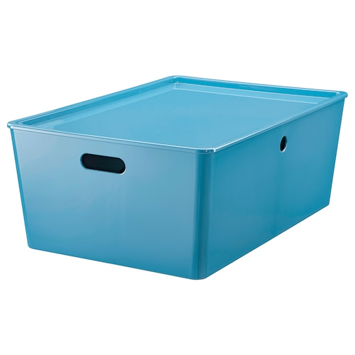 KUGGIS Storage box with lid, blue/plastic, 37x54x21 cm