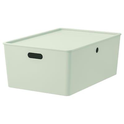 KUGGIS Storage box with lid, light green, 37x54x21 cm