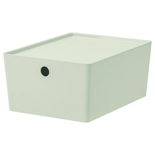 KUGGIS Storage box with lid, light green, 26x35x15 cm