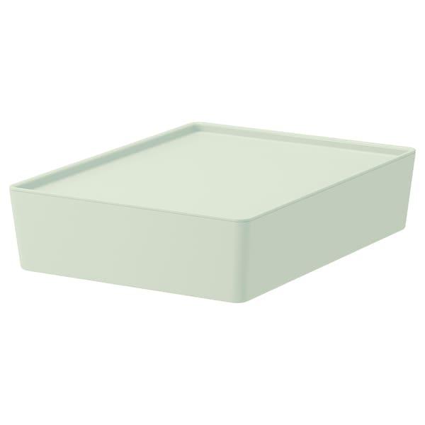 KUGGIS Storage box with lid, light green, 26x35x8 cm