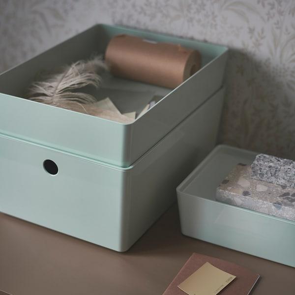 KUGGIS Storage box with lid, light green, 18x26x8 cm