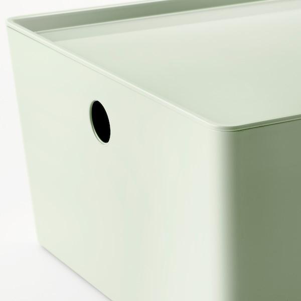 KUGGIS Storage box with lid, light green, 26x35x15 cm