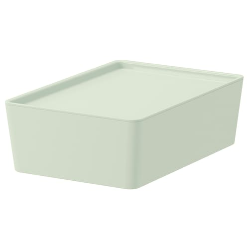 KUGGIS storage box with lid light green 18 cm 26 cm 8 cm