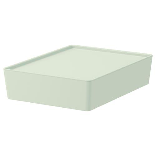 KUGGIS storage box with lid light green 26 cm 35 cm 8 cm