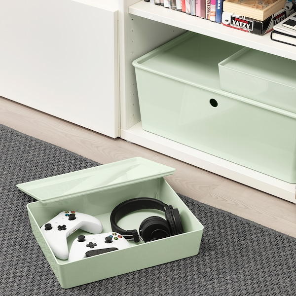 KUGGIS storage box with lid light green 26 cm 35 cm 8 cm