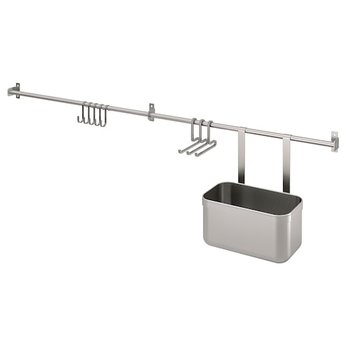 KUNGSFORS rails with hooks and container stainless steel 112 cm