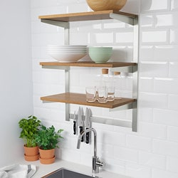 KUNGSFORS susp rail w shelf/mgnt knife rack, stainless steel, ash