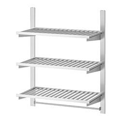 KUNGSFORS suspension rail w shelves and rail, stainless steel
