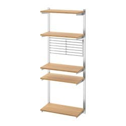 KUNGSFORS suspension rail with shelf/wll grid, stainless steel, bamboo