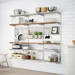 KUNGSFORS suspension rail with shelf/wll grid, stainless steel, ash