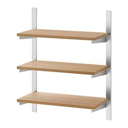 KUNGSFORS suspension rail with shelves, stainless steel, ash