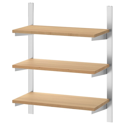 KUNGSFORS suspension rail with shelves stainless steel/bamboo 60 cm