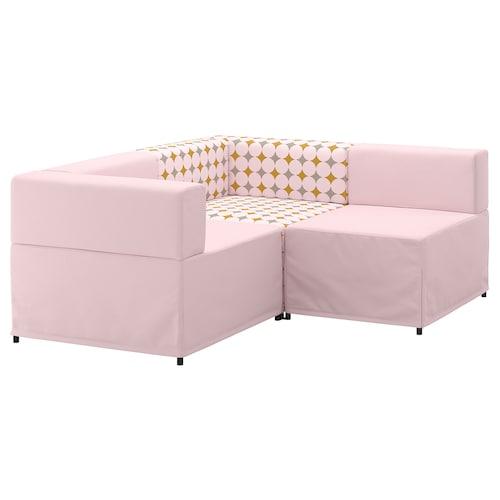 KUNGSHAMN modular corner sofa, 2-seat Idekulla pink/Yttered multicolour 85 cm 71 cm 152 cm 170 cm 23 cm 65 cm 44 cm