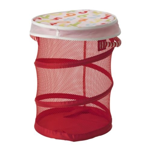 KUSINER Mesh basket with lid IKEA Easy to see what's inside through the net. Space-saving when not in use; easy to press together.