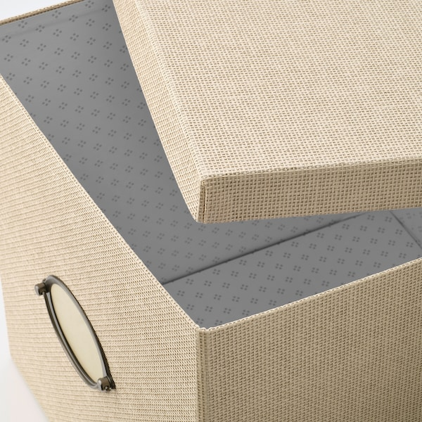 KVARNVIK Storage box with lid, beige, 32x35x32 cm