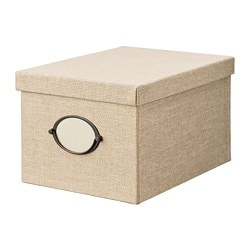 KVARNVIK storage box with lid, beige