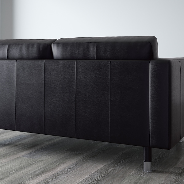 LANDSKRONA 3-seat sofa with chaise longue/Grann/Bomstad black/metal 242 cm 78 cm 89 cm 158 cm 64 cm 61 cm 128 cm 44 cm