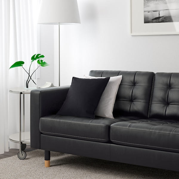 LANDSKRONA 3-seat sofa, with chaise longue/Grann/Bomstad black/wood