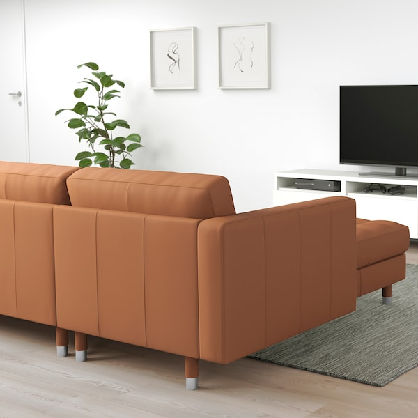 LANDSKRONA 3-seat sofa with chaise longue/Grann/Bomstad golden-brown/metal 242 cm 78 cm 158 cm 64 cm