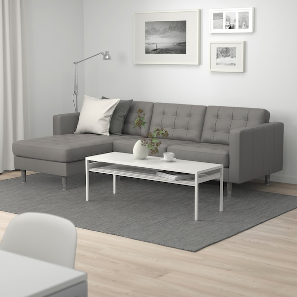 LANDSKRONA 3-seat sofa, with chaise longue/Grann/Bomstad grey-green/metal