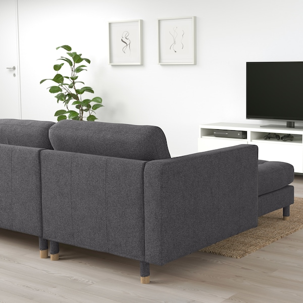 LANDSKRONA 3-seat sofa, with chaise longue/Gunnared dark grey/wood