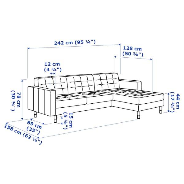 LANDSKRONA 3-seat sofa with chaise longue/Gunnared light green/metal 242 cm 78 cm 158 cm 64 cm