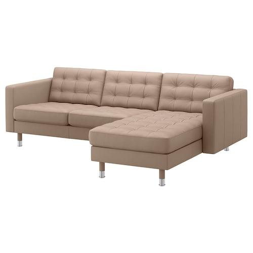 LANDSKRONA 3-seat sofa with chaise longue/Grann/Bomstad dark beige/metal 242 cm 78 cm 158 cm 64 cm