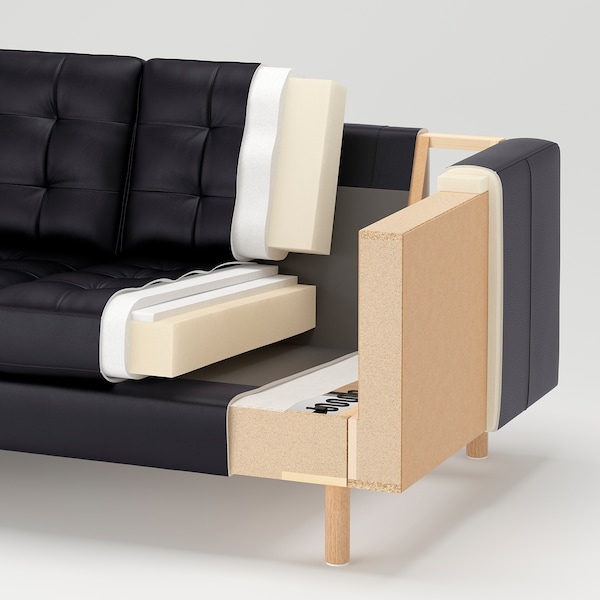 LANDSKRONA 3-seat sofa with chaise longue/Grann/Bomstad dark beige/wood 242 cm 78 cm 158 cm 64 cm