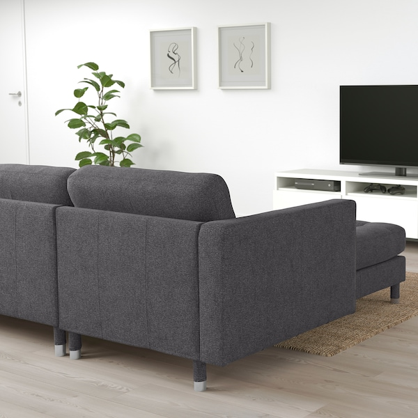 LANDSKRONA 4-seat sofa with chaise longue/Gunnared dark grey/metal 158 cm 282 cm 89 cm 78 cm 64 cm 180 cm 56 cm 44 cm