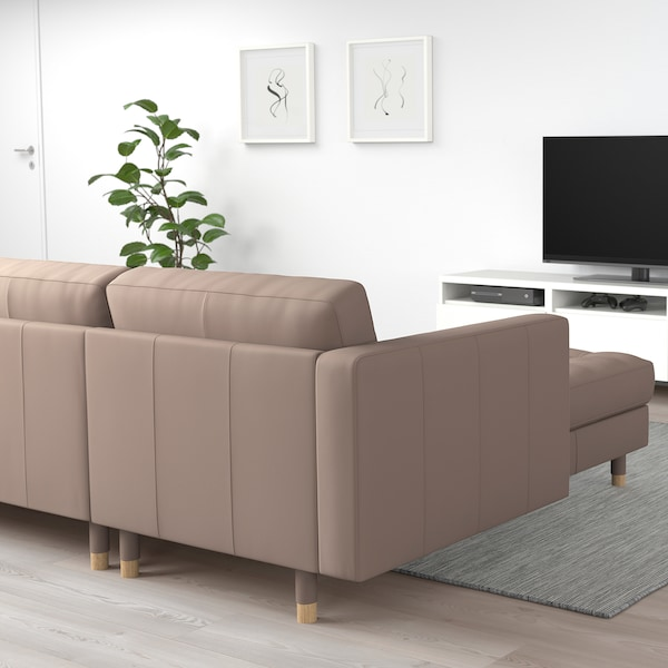 LANDSKRONA 5-seat sofa, with chaise longues/Grann/Bomstad dark beige/wood