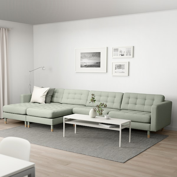 LANDSKRONA 5-seat sofa with chaise longues/Gunnared light green/wood 360 cm 78 cm 89 cm 158 cm 64 cm 61 cm 128 cm 44 cm