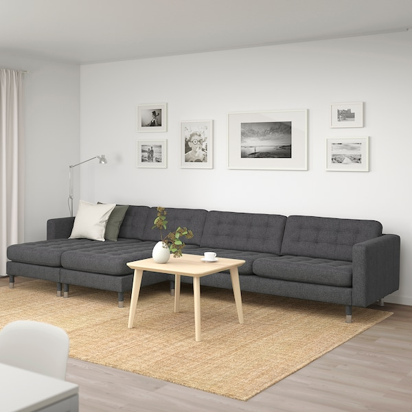 LANDSKRONA 5-seat sofa with chaise longues/Gunnared dark grey/metal 360 cm 78 cm 89 cm 158 cm 64 cm 61 cm 128 cm 44 cm